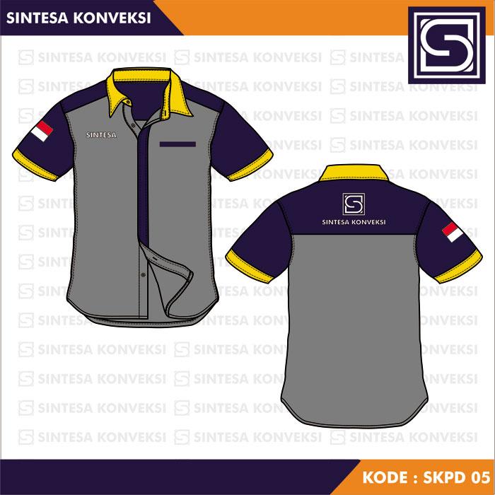 desain baju seragam kerja abu