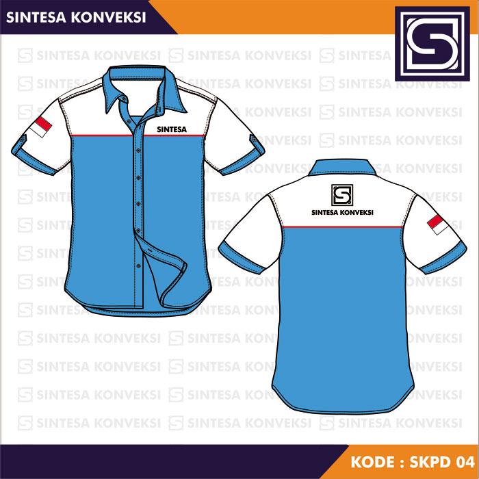 desain seragam kerja biru putih