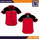Baju Kerja Merah Kombinasi Hitam List Putih Code SKPD -04