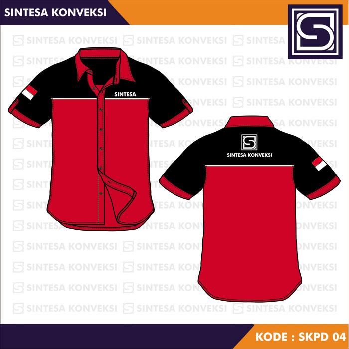desain seragam kerja merah hitam