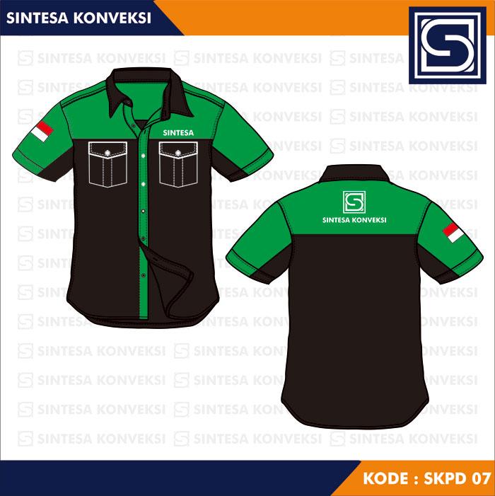 model baju kerja hijau hitam