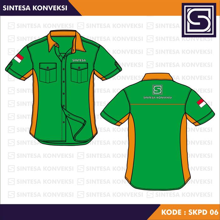 model baju kerja hijau