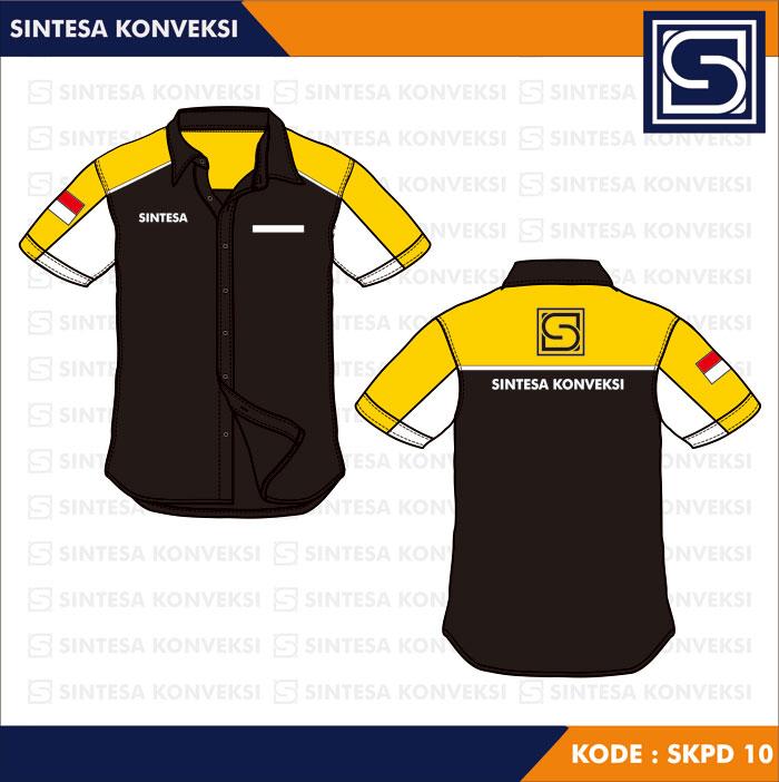 model baju kerja hitam kuning