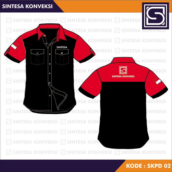 model baju kerja hitam merah