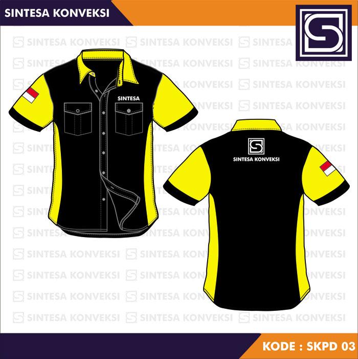 model baju kerja kuning hitam