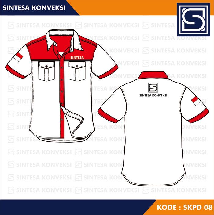 model baju kerja putih merah