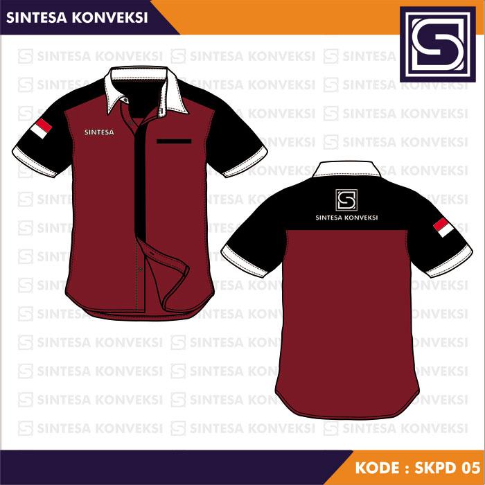 baju kerja merah marun dan hitam