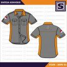 Baju Kerja Minimalis Code SKPD 06 – Warna Abu Kombinasi Orange