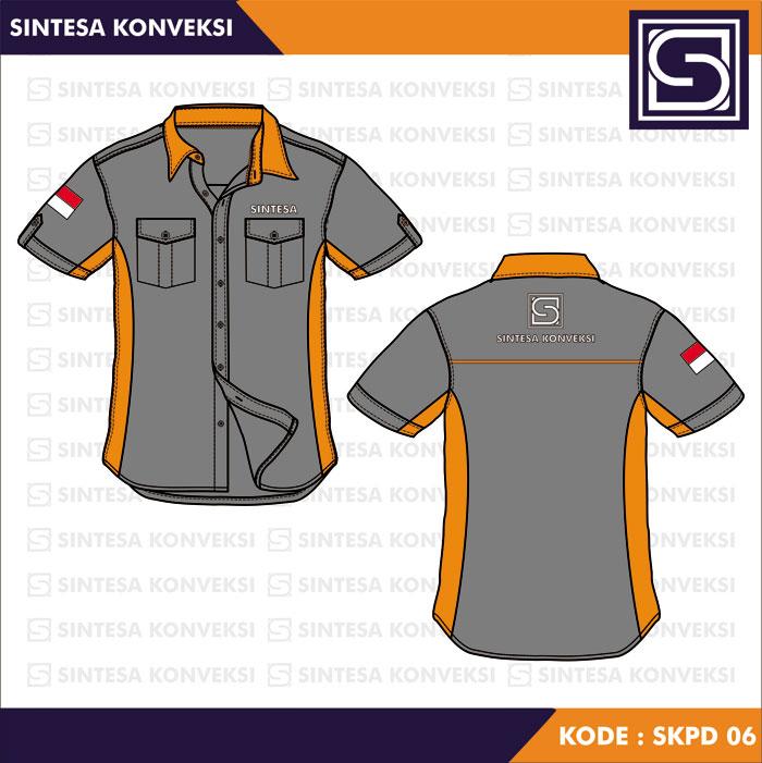 baju kerja warna abu orange
