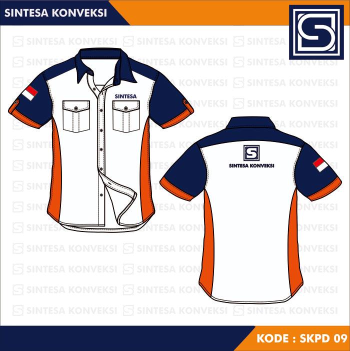 baju pdh putih biru orange