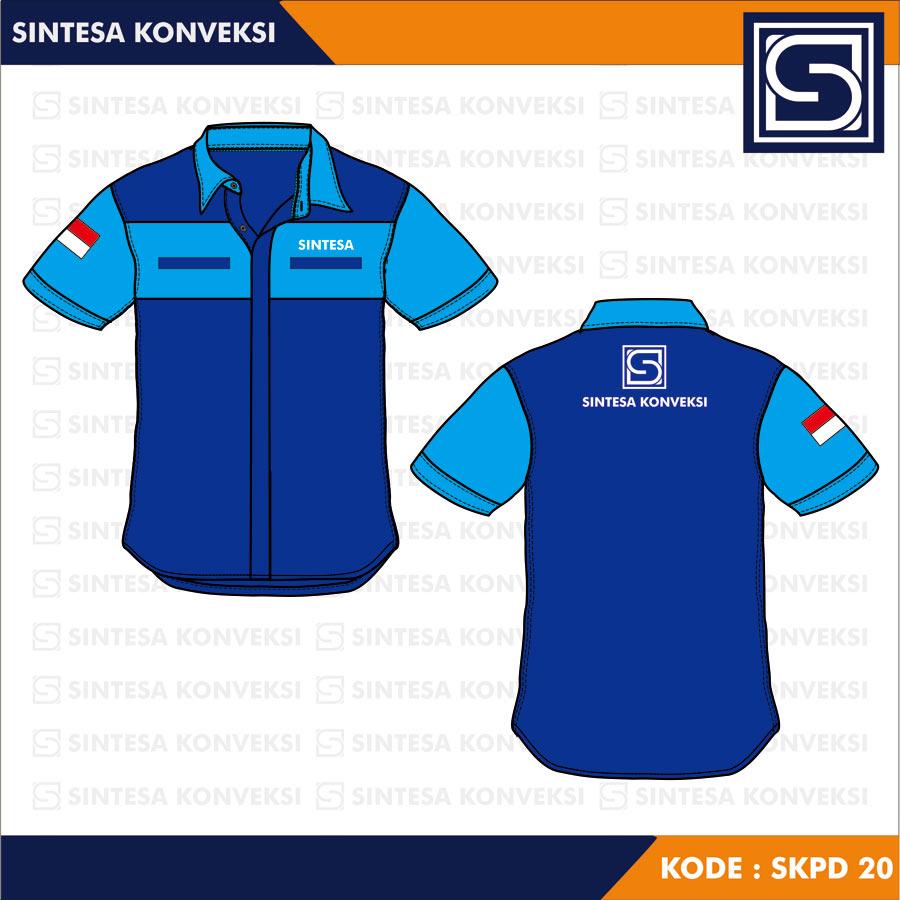 baju perusahaan biru
