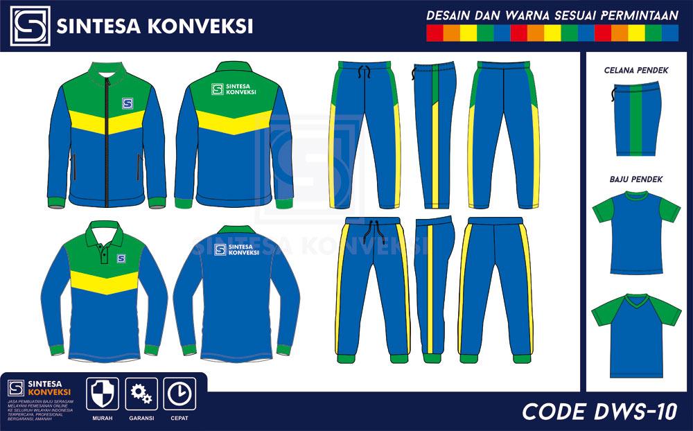 desain baju olahraga lengan panjang biru hijau kuning