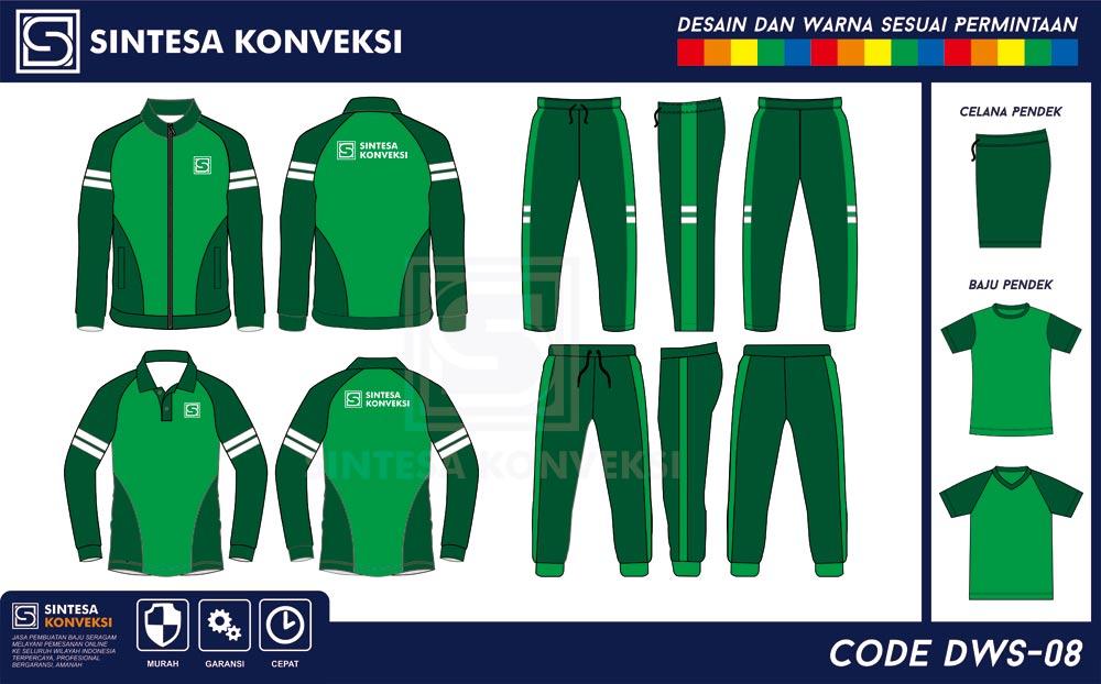 desain baju olahraga lengan panjang warna hijau