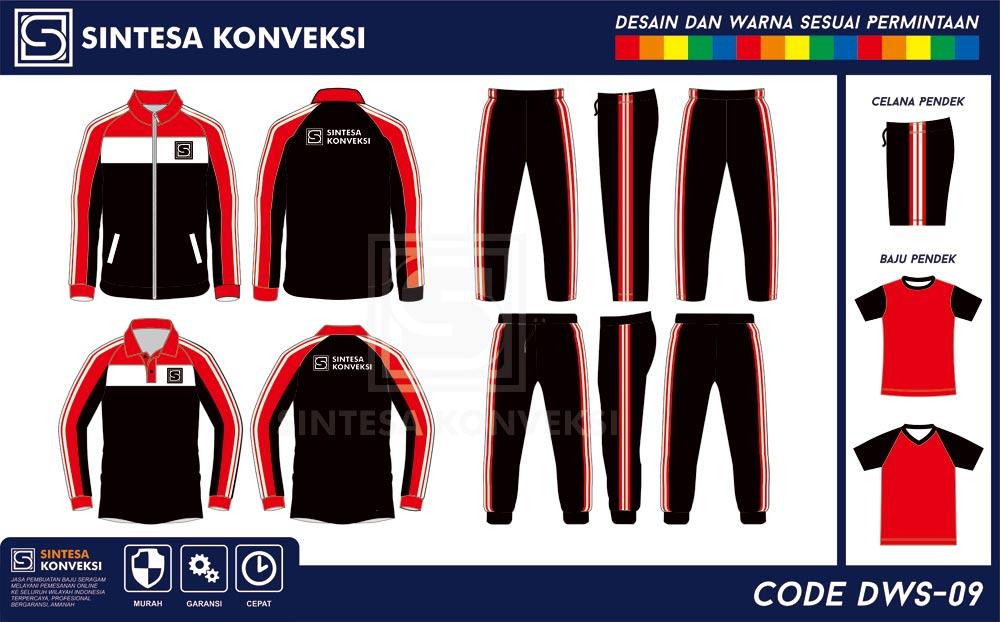 desain baju olahraga lengan panjang hitam merah putih