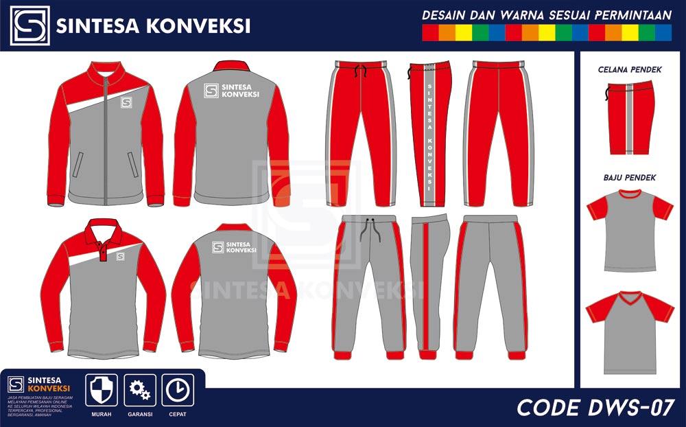 desain baju olahraga terbaik abu merah