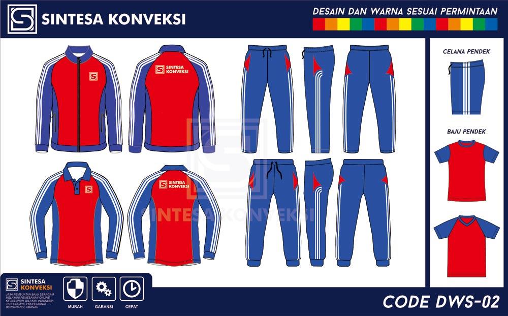 desain baju olahraga terbaik warna merah biru