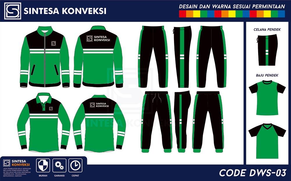 desain baju olahraga terbaik warna hijau hitam