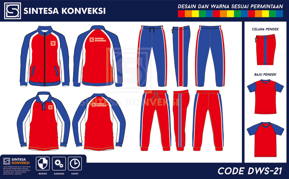desain baju seragam olahraga merah biru