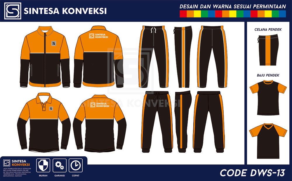 desain training spak olahraga orange hitam